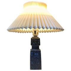 Blue Nils Thorsson Ceramic Table Lamp for Royal Copenhagen/Fog & Mørup, 1970s