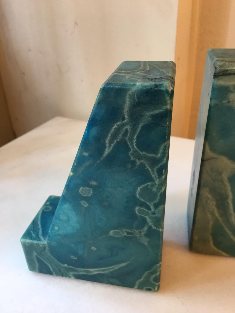 Blue onyx bookends from the 1960s nice condition and form!