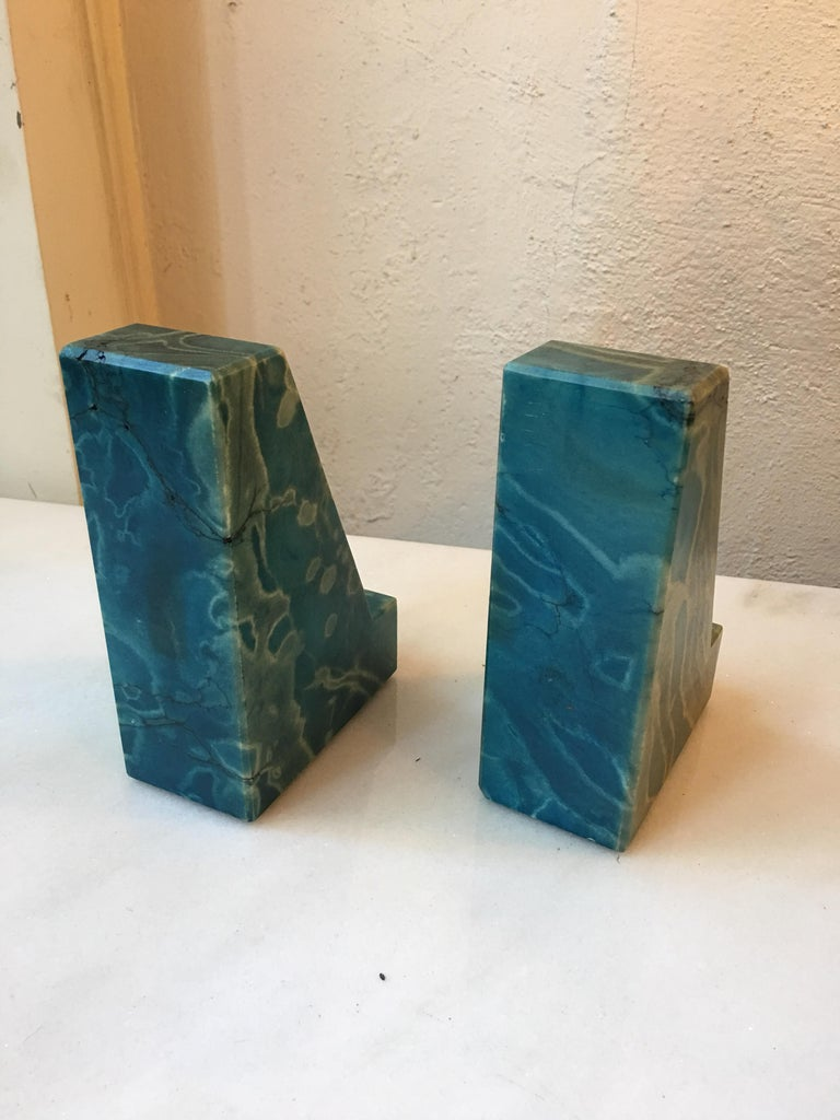 Mid-Century Modern Blue Onyx Bookends from the 1960s For Sale