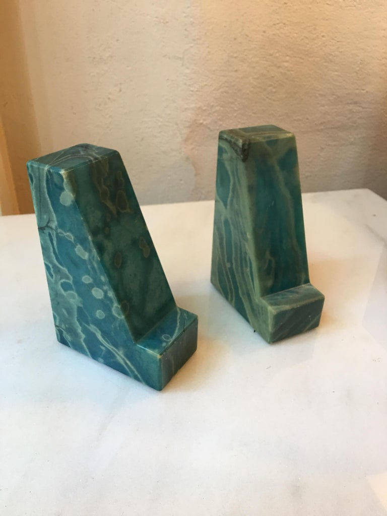 20th Century Blue Onyx Bookends from the 1960s For Sale