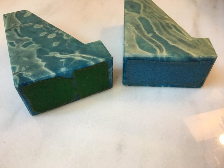 Blue Onyx Bookends from the 1960s For Sale 1