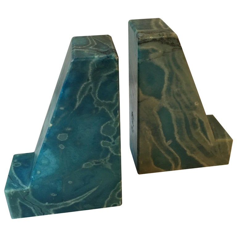 Blue Onyx Bookends from the 1960s For Sale