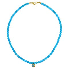 Blue Opal, 22 Karat Gold, and Sleeping Beauty Turquoise Beaded Pendant Necklace