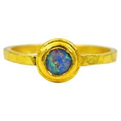 Blue Opal 22 Karat Gold Bezel Stacker Fashion Ring