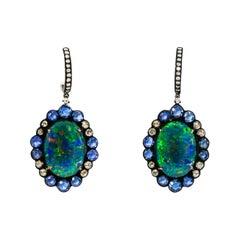 Blue Opal Blue Sapphire & Diamond Earring