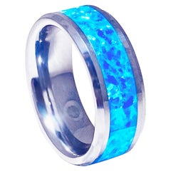 Blue Opal Inlay Tungsten Steel Men's Band, Genuine Opal Ring Wide Wedding