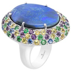 Blue Opal Yellow Blue Sapphire Amethyst Tsavorite Garnet Cocktail Ring 18 Karat