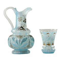 Blue Opaline Ewer And Cup 19th Century