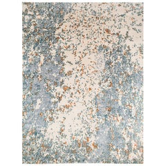 Blue, Orange and White Wool and Silk Blend Abstract Rug