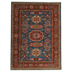 Blue Oriental Carpet, Traditional Kazak Rug Wool Rug