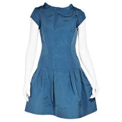 Oscar De La Renta Blue Taffeta Mini Dress