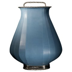 Blue Oval Jar by Estudio Guerrero Made with Glazed Ceramic and White Metal
