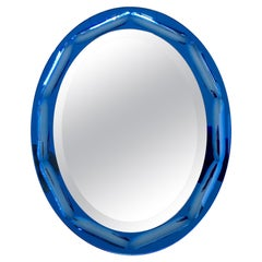 Blue Oval Mirror by Antonio Lupi, circa 1960, Italy