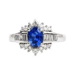 Blue Oval Sapphire Diamond Platinum Floral Ring