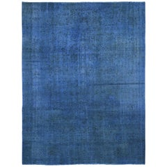 """Blue Overdyed Persian Esfahan Pure Wool Hand Knotted Oriental Rug, 7'5"""" x 10'2"""""""