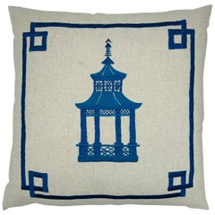 Blue Pagoda Embroidery on Linen Pillow, Custom