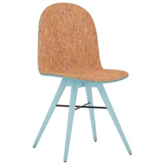 Blue Painted Ash and Corkfabric Contemporary Chair by Alexandre Caldas