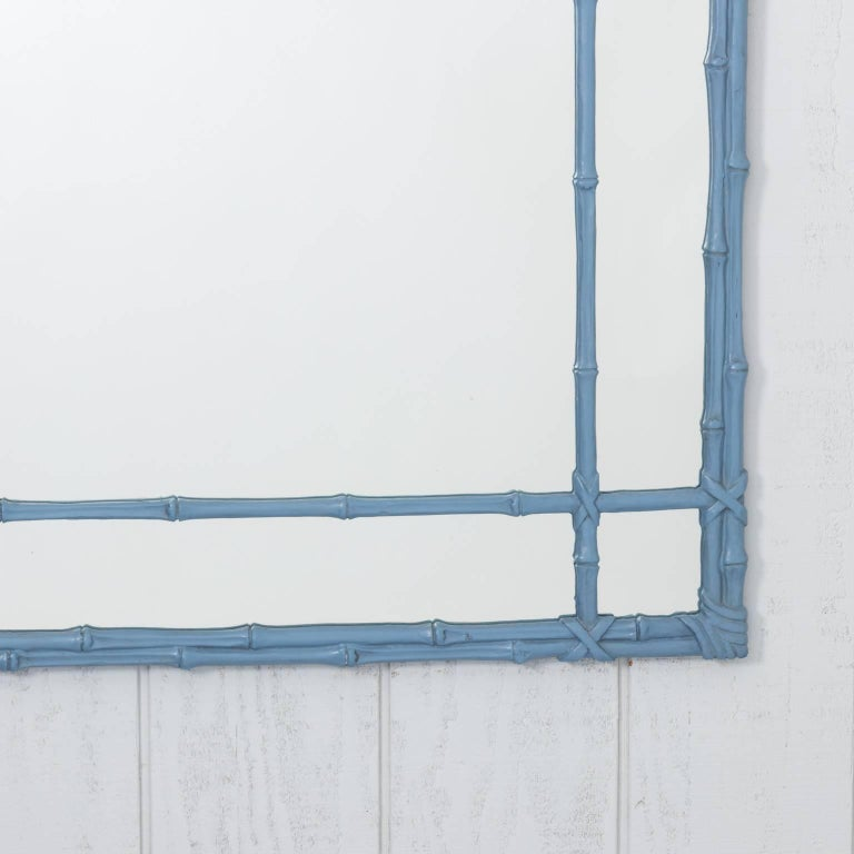 Blue Painted Faux Bamboo Mirror For Sale 5