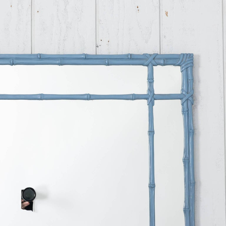 Blue Painted Faux Bamboo Mirror For Sale 6