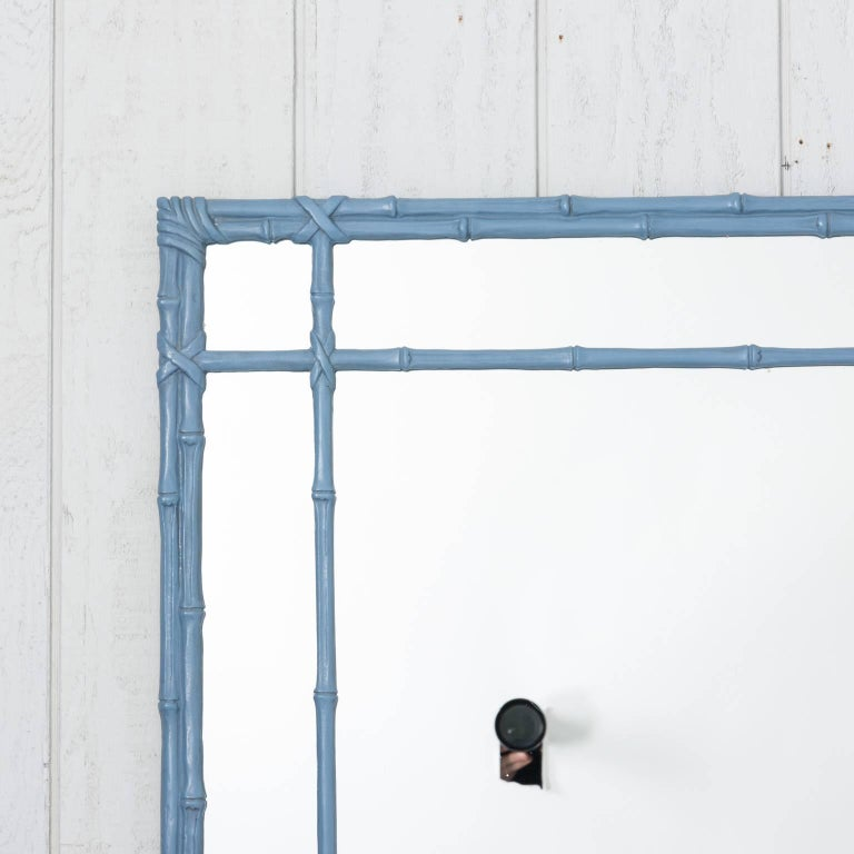 Blue Painted Faux Bamboo Mirror For Sale 7