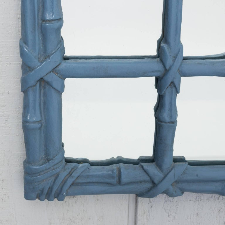 Chinoiserie Blue Painted Faux Bamboo Mirror For Sale