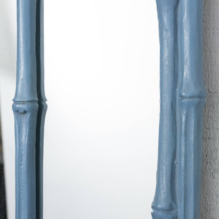 Blue Painted Faux Bamboo Mirror In Good Condition For Sale In Stamford, CT
