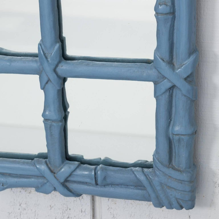 20th Century Blue Painted Faux Bamboo Mirror For Sale