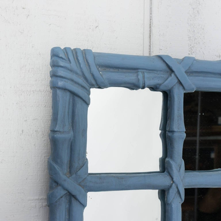 Blue Painted Faux Bamboo Mirror For Sale 1