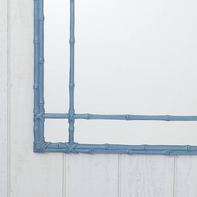 Blue Painted Faux Bamboo Mirror For Sale 4