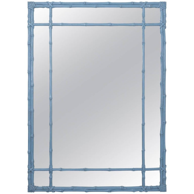 Blue Painted Faux Bamboo Mirror For Sale