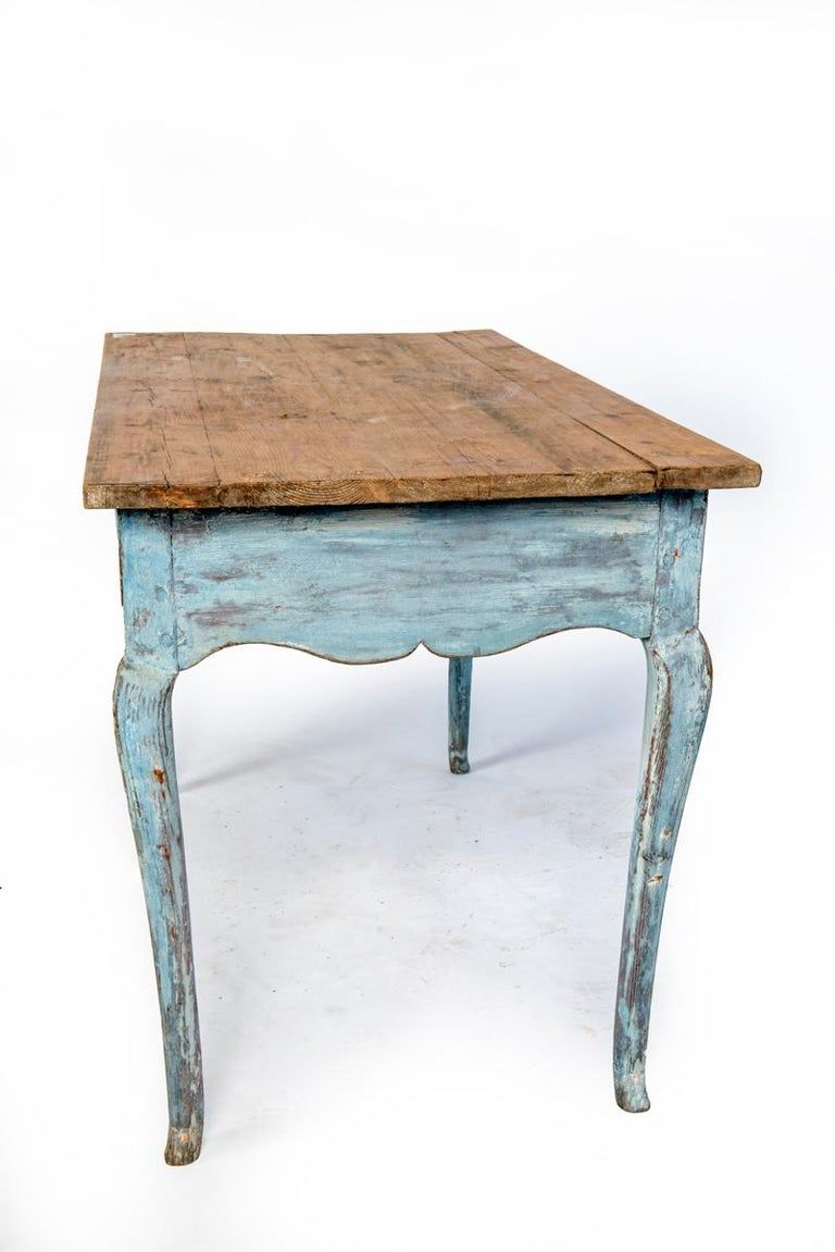 Blue Painted Louis XV Table with Cabriole legs For Sale 4