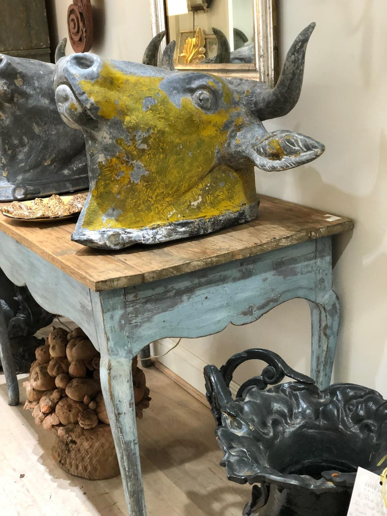 Blue Painted Louis XV Table with Cabriole legs For Sale 5