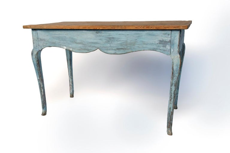 Blue painted Louis XV table with cabriole legs.
