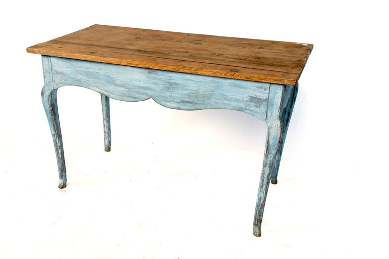 French Blue Painted Louis XV Table with Cabriole legs For Sale