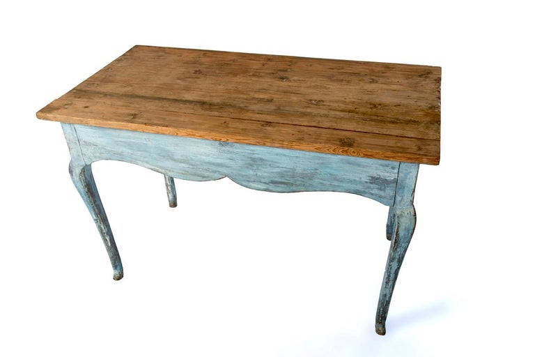 Hand-Painted Blue Painted Louis XV Table with Cabriole legs For Sale