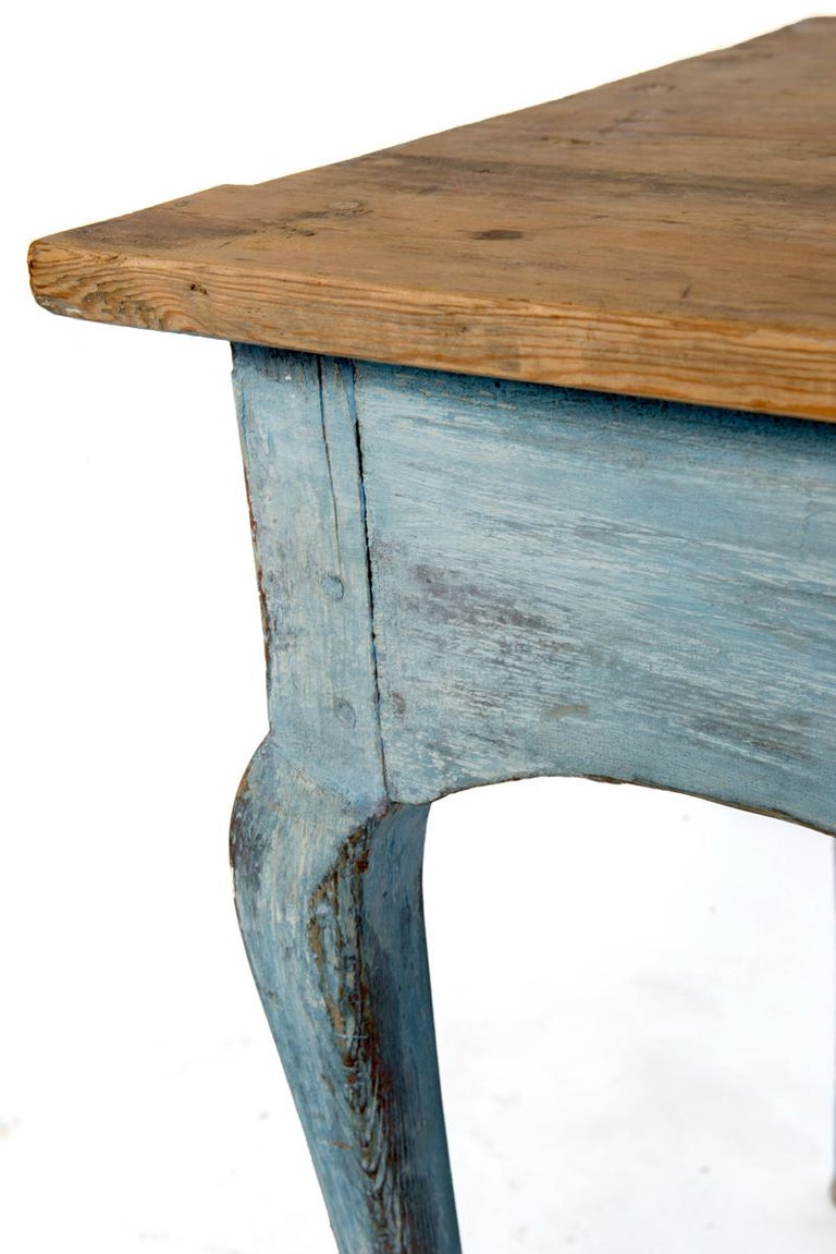 Late 19th Century Blue Painted Louis XV Table with Cabriole legs For Sale