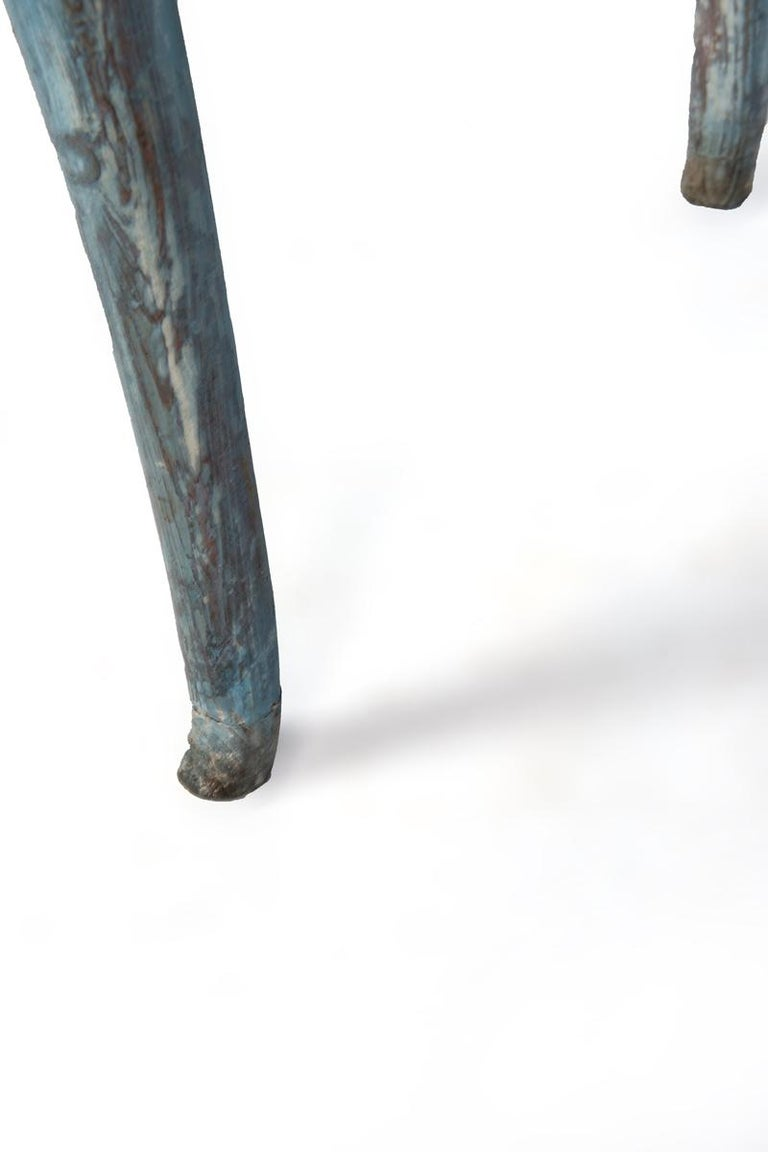 Wood Blue Painted Louis XV Table with Cabriole legs For Sale