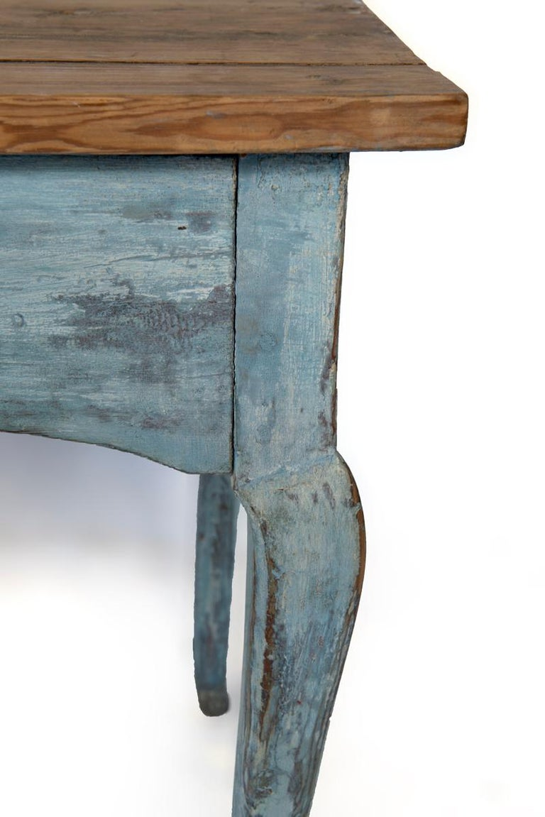 Blue Painted Louis XV Table with Cabriole legs For Sale 2