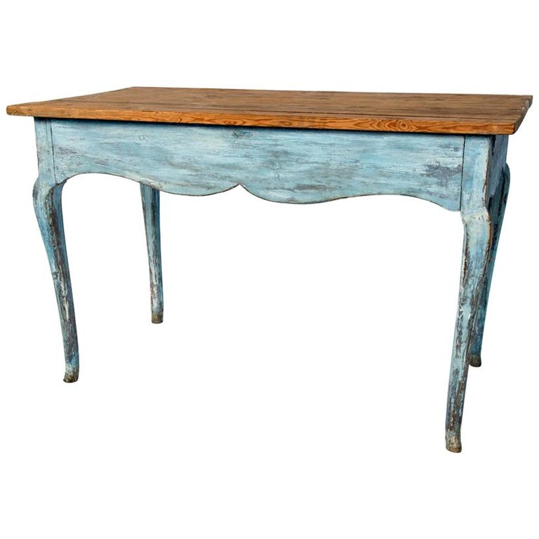 Blue Painted Louis XV Table with Cabriole legs For Sale