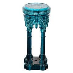 Blue Painted Majolica Pedestal Table