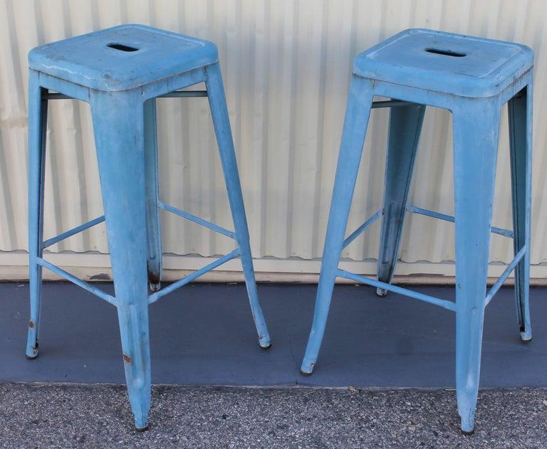 Prime Blue Painted Metal Industrial Stools Pair Inzonedesignstudio Interior Chair Design Inzonedesignstudiocom