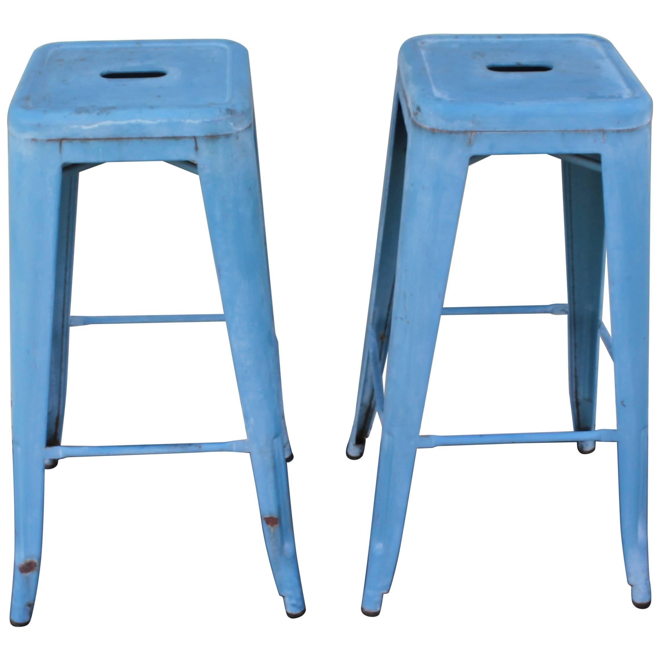 Wondrous Wooden Blue And Cream Painted Stool Inzonedesignstudio Interior Chair Design Inzonedesignstudiocom