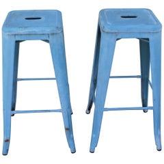 Blue Painted Metal Industrial Stools, Pair