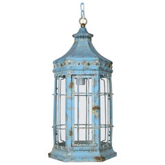 Blue Painted Pagoda Shaped Lantern with Original Glass