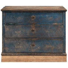 Blue Painted Pine Chest of Drawers, England, circa 1840