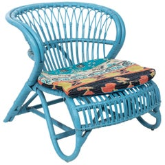 Blue Painted Rattan Low Chair
