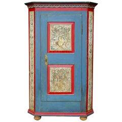 Blue Painted Wardrobe, Around 1820, Central Europe