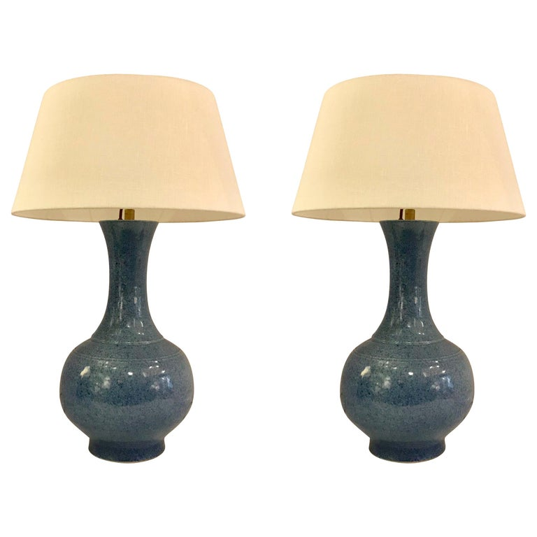 Blue Pair of Curved Neck Lamps, China, Contemporary For Sale