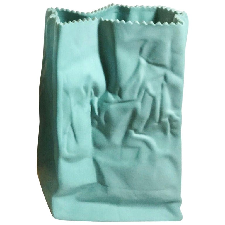 Blue Paper Bag Porcelain Vase by Tapio Wirkkala Rosenthal Studio Line Germany For Sale
