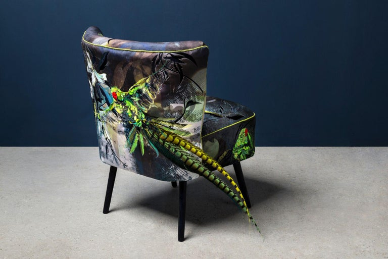 Modern Blue Parrot, Contemporary English Two Armchairs in Velvet And Embroidery For Sale